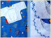 Для новорожденных - Распашонка с синим орнаментом
