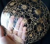 """Тарелки - Элегантная стеклянная тарелочка """"Золотые цветы"""""""