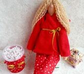 Куклы Тильды - Тильда банный ангел в красном халатике