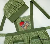 Одежда для девочек - Фартук детский с вышивкой Ежик