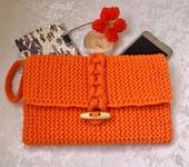 Сумки, рюкзаки - Клатч из трикотажной пряжи Оранжевое лето