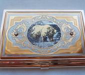 """Другие аксессуары - Подарочная позолоченная визитница ручной работы с фианитами """"Медведь"""""""