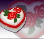 Мыло ручной работы - Сердечко с розами и листиками