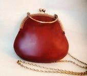 Сумки, рюкзаки - Маленькая кожаная сумочка каштанового цвета