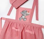 Одежда для девочек - Фартук детский с вышивкой Мишка