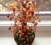 """Оригинальные подарки - Дерево счастья """"Осенний листопад"""" из натурального сердолика"""